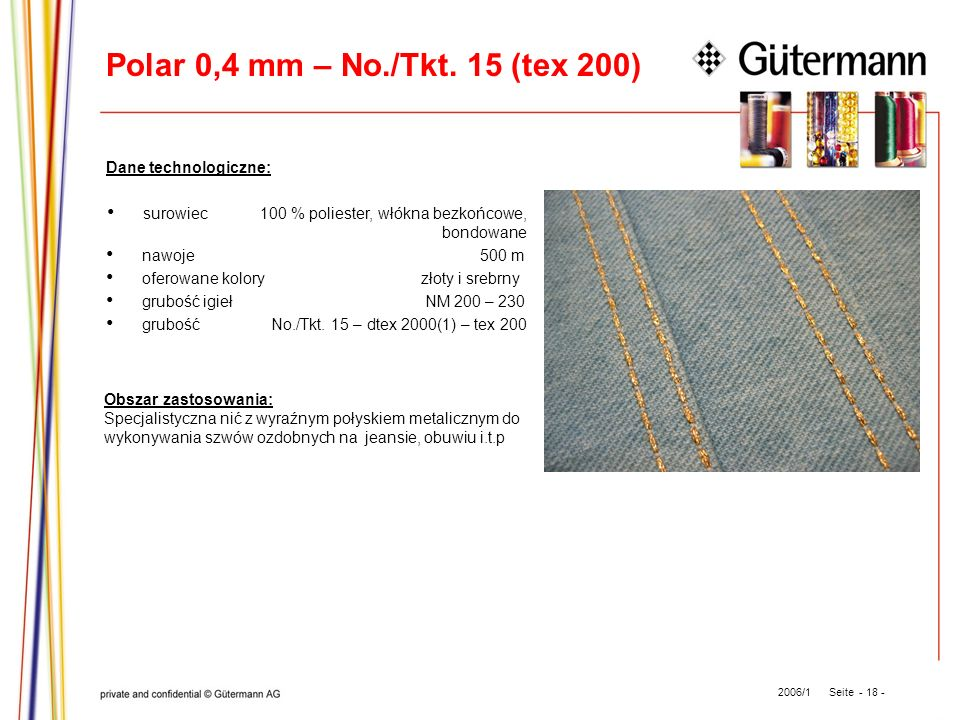 Polar 0,4 mm – No./Tkt. 15 (tex 200) Dane technologiczne: