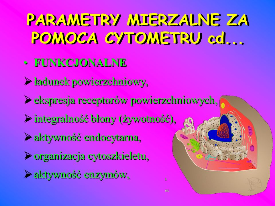 PARAMETRY MIERZALNE ZA POMOCA CYTOMETRU cd...