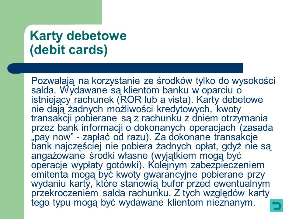 Karty debetowe (debit cards)