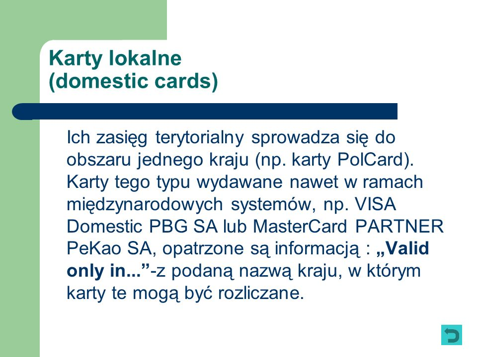 Karty lokalne (domestic cards)