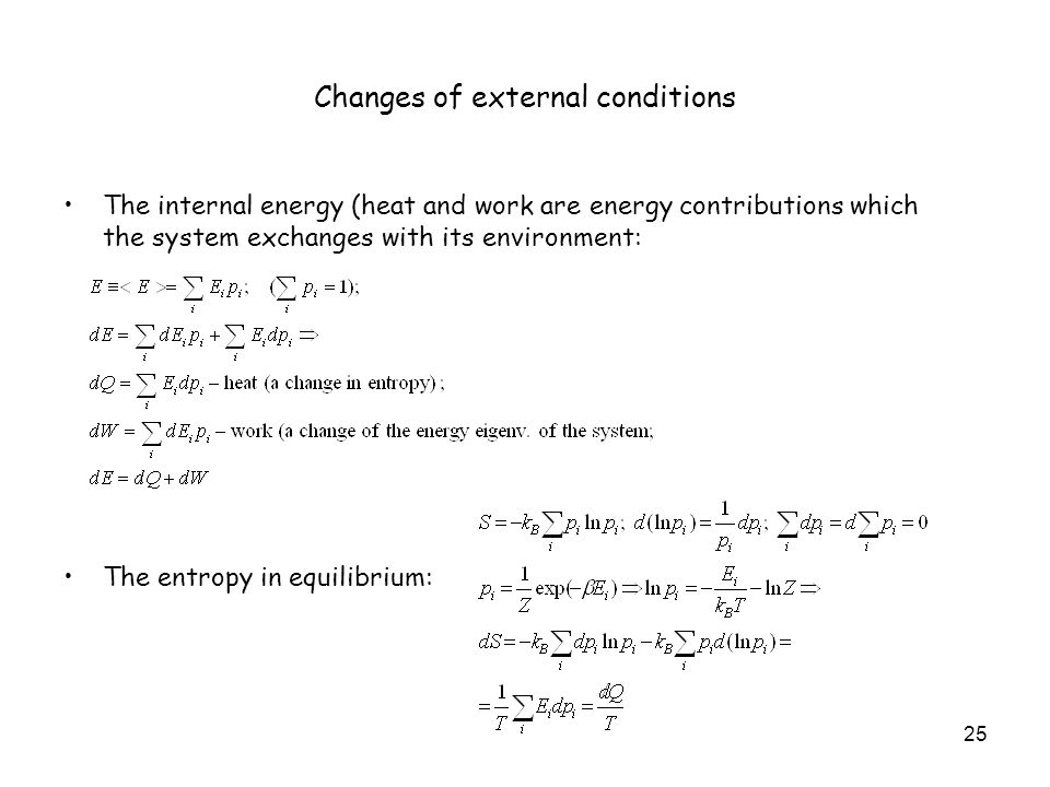 Changes of external conditions