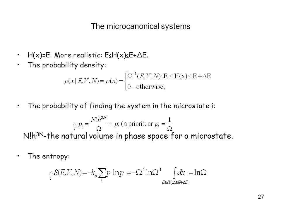 The microcanonical systems