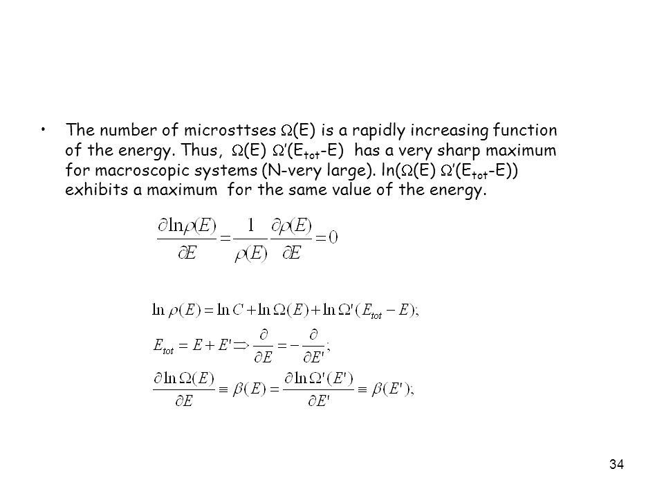 The number of microsttses (E) is a rapidly increasing function of the energy.