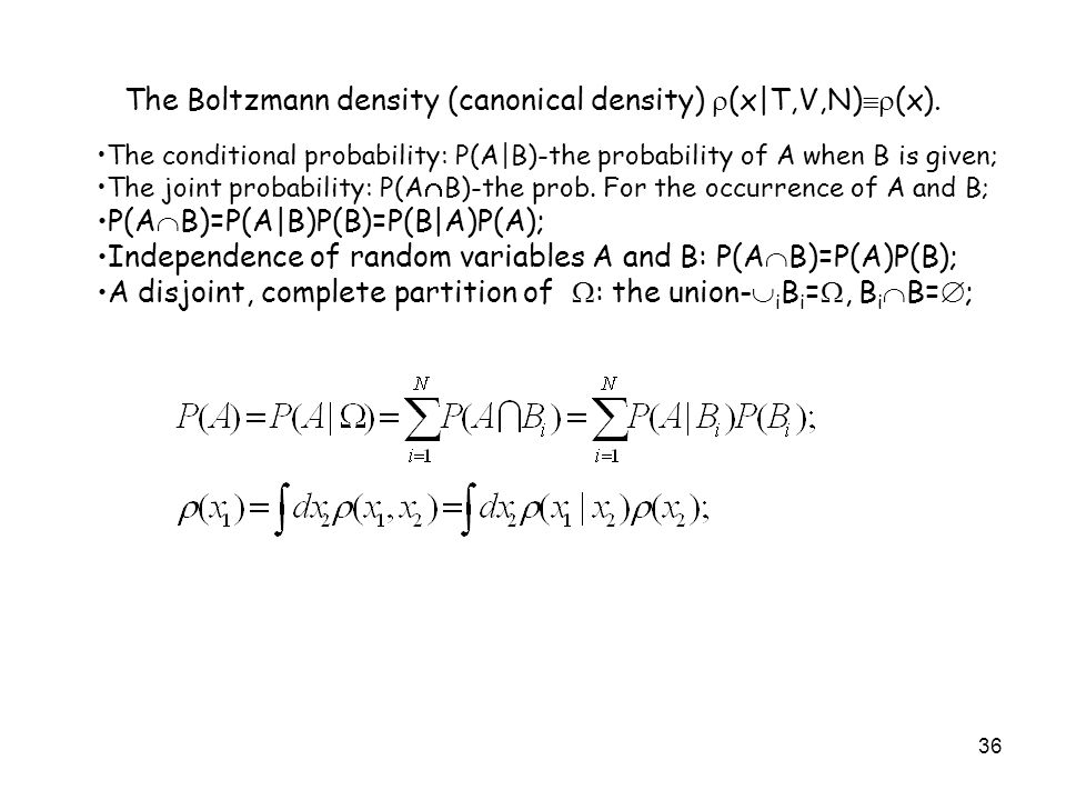 The Boltzmann density (canonical density) (x|T,V,N)(x).