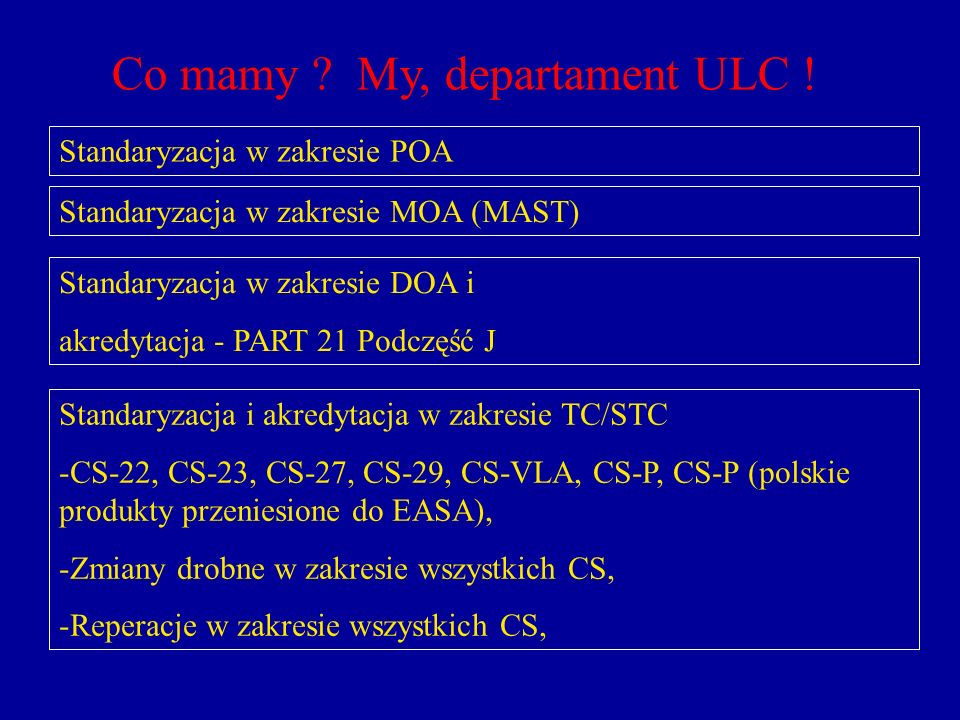 Co mamy My, departament ULC !