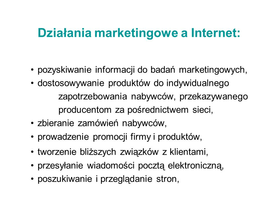 Działania marketingowe a Internet: