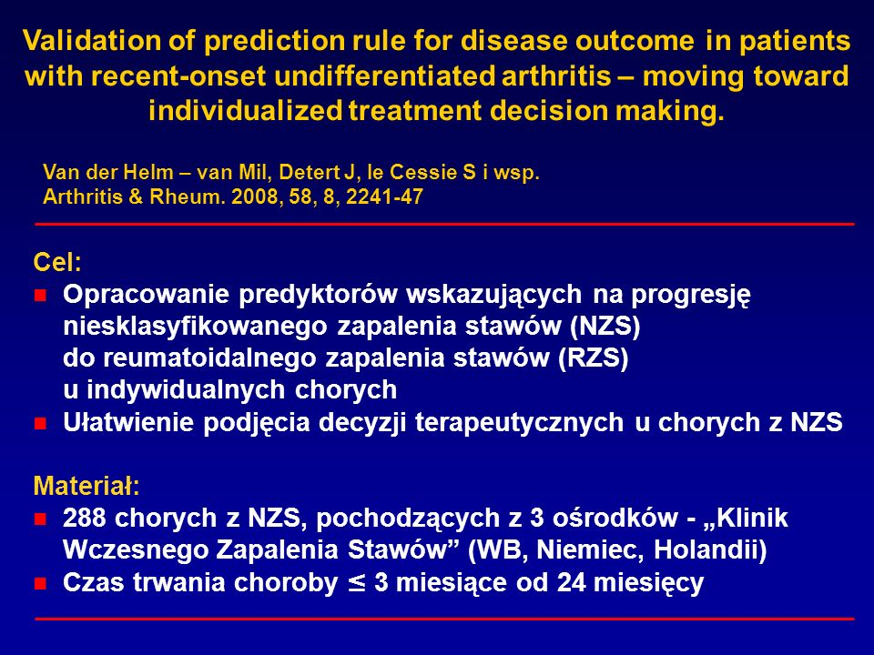 Validation of prediction rule for disease outcome in patients