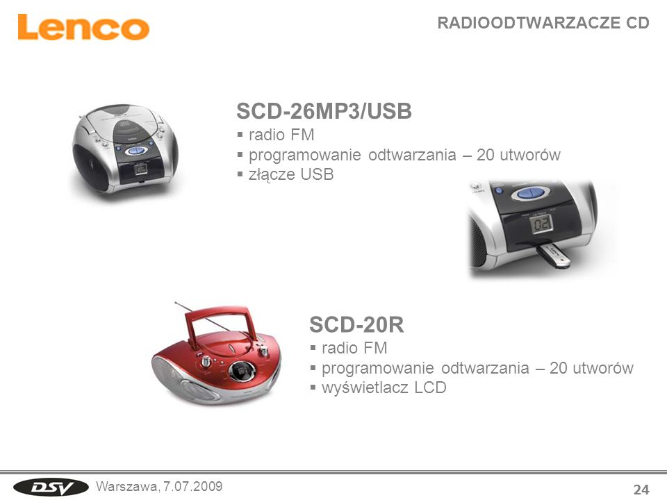 SCD-26MP3/USB SCD-20R RADIOODTWARZACZE CD radio FM
