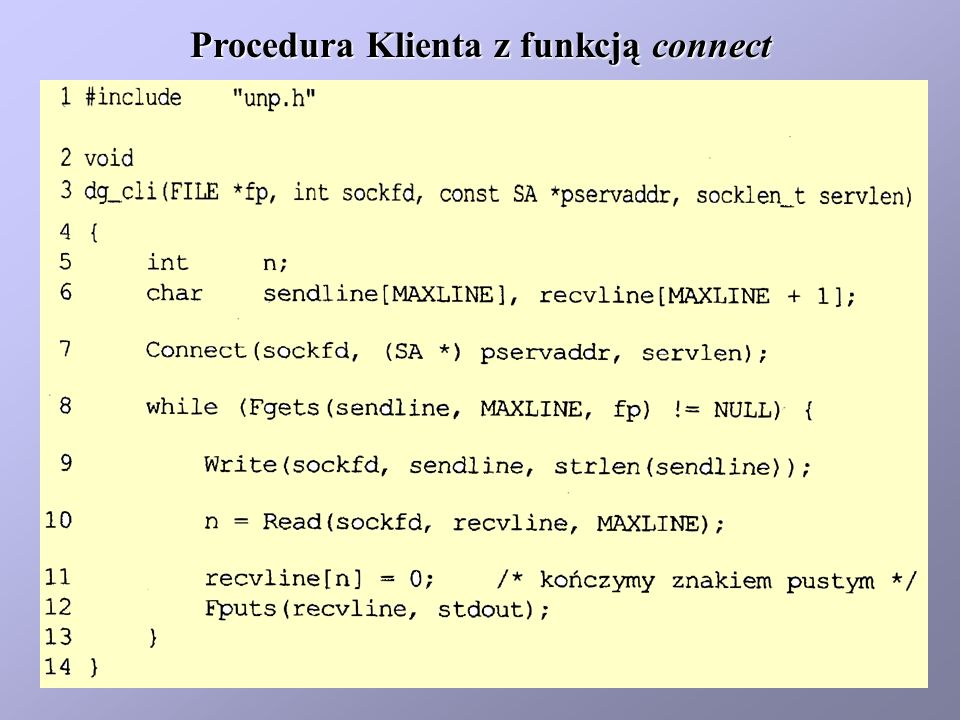 Procedura Klienta z funkcją connect